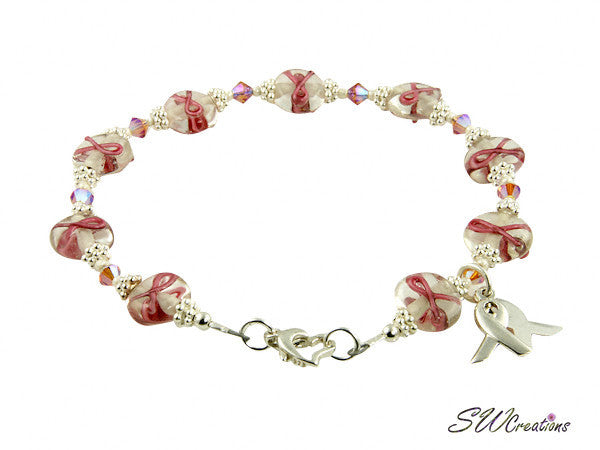 Pink Topaz Lampwork Bali Breast Cancer Beaded Bracelets - SWCreations