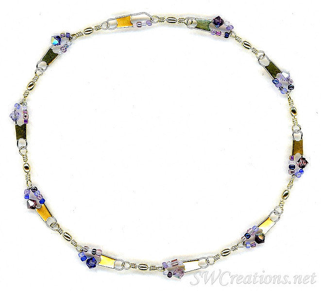 Beach Field of Violets Crystal Anklet - SWCreations