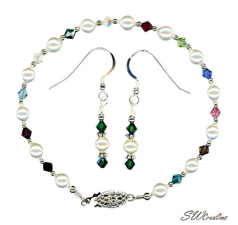 Small Generation Birthstone Crystal Pearl Set - SWCreations
