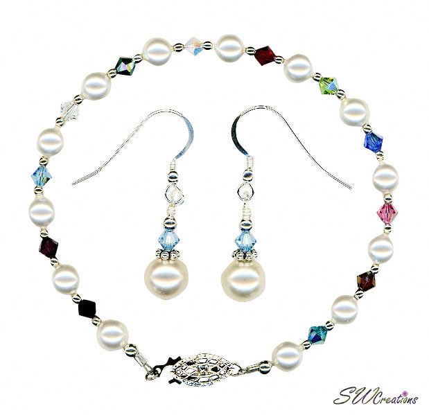 Small Generation Birthstone Crystal Pearl Set 2 - SWCreations