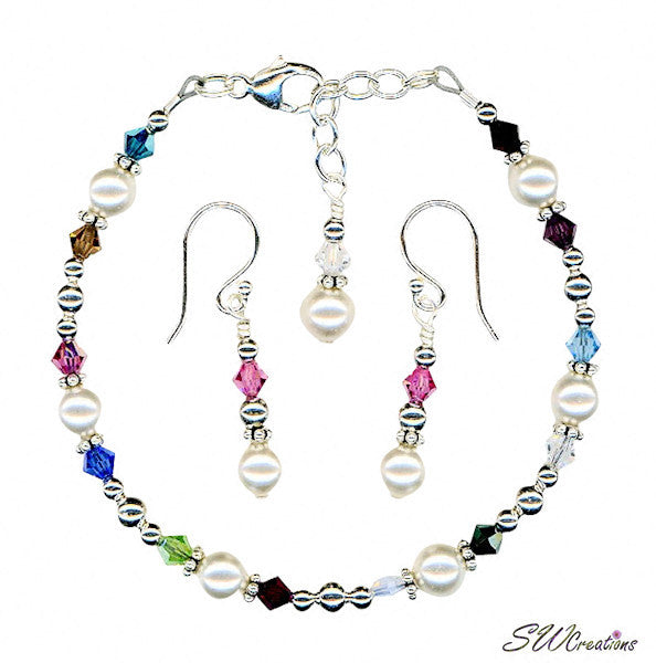 Silver Generation Birthstone Crystal Pearl Set - SWCreations