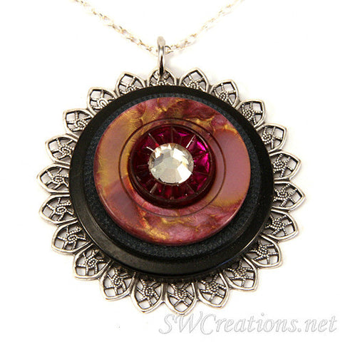 Jet Amethyst Gold New Button Pendant Necklace - SWCreations