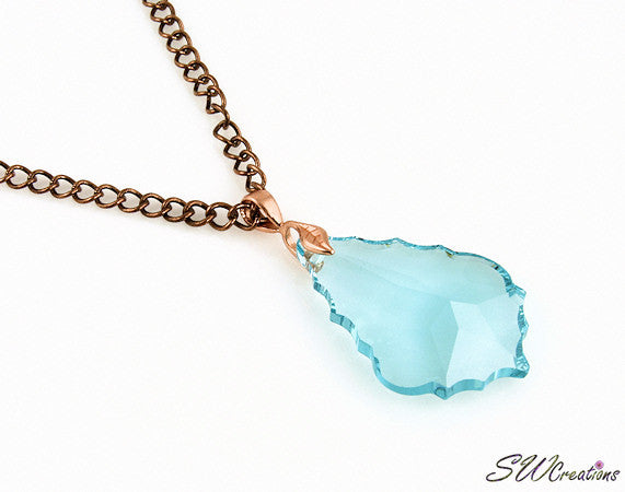 Star Aqua Crystal Iridescent Pendant Necklace - SWCreations