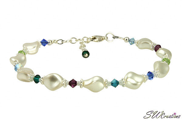 Twist White Pearl Generation Birthstone Crystal Beaded Bracelet - SWCreations