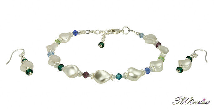 White Pearl Twist Crystal Beaded Bracelet Set - SWCreations
