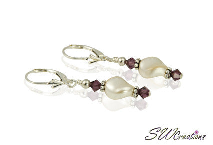 Cream Pearl Twist Generation Birthstone Crystal Earrings - SWCreations