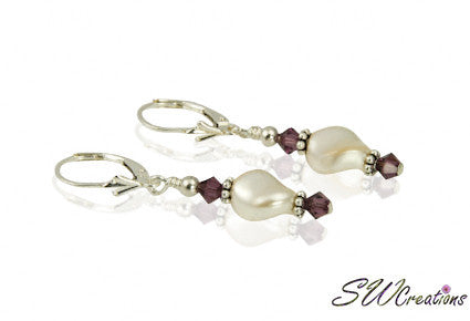Elegant Cream Pearl Twist Crystal Earrings - SWCreations