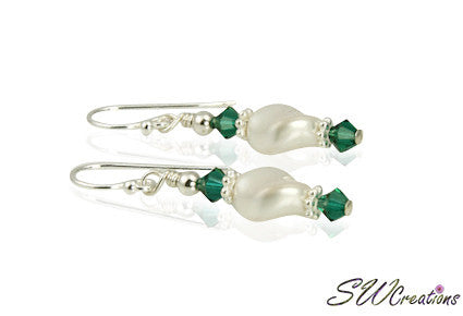 White Pearl Twist Generation Birthstone Crystal Earrings - SWCreations
