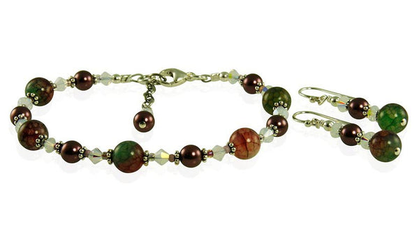Peacock Fire Agate Crystal Bracelet Set - SWCreations