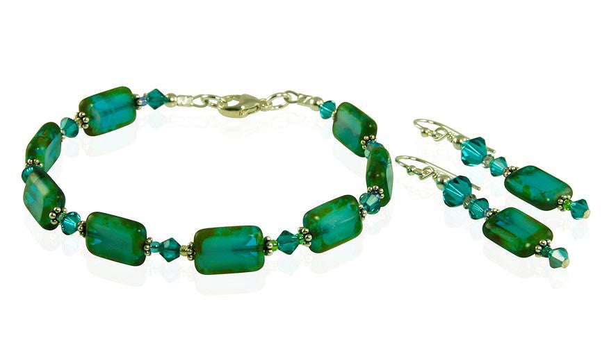 Teal Czech Window Bracelet Set - SWCreations