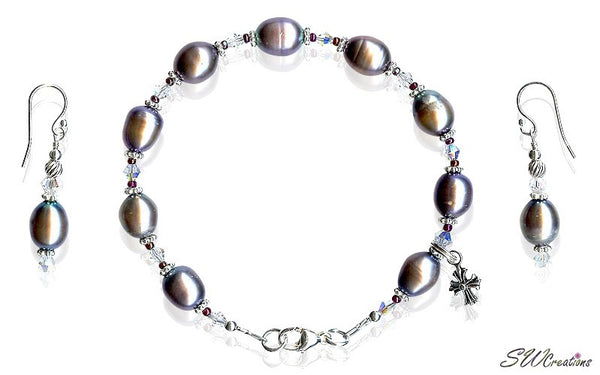 Peacock Pearl Crystal Ruby Cross Beaded Bracelets Set - SWCreations