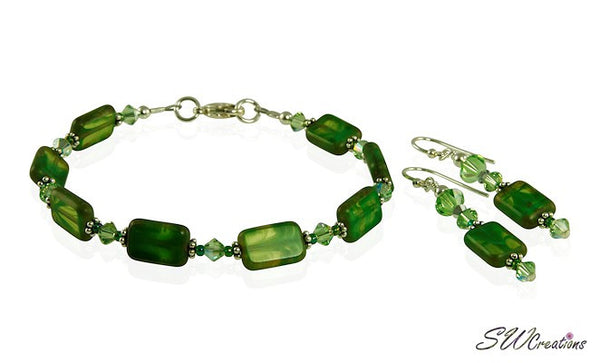 Olive Green Czech Window Bracelet Set - SWCreations