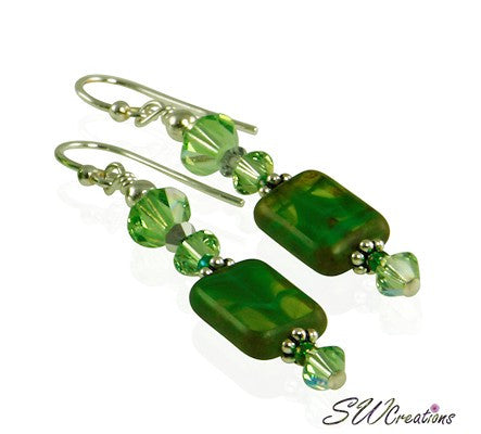 Olive Green Czech Window Bracelet Set - SWCreations  - 2