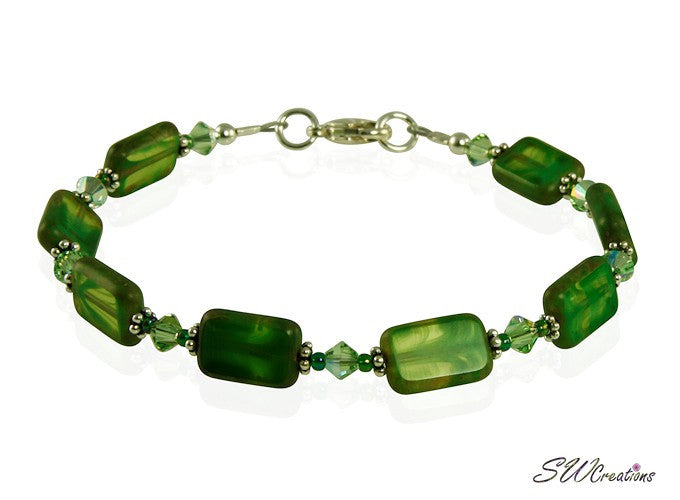 Olive Green Czech Window Bracelet Set - SWCreations  - 3
