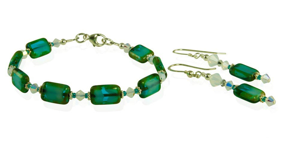 Opal Teal Green Czech Window Bracelet Set - SWCreations