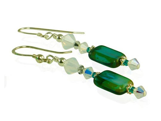 Opal Teal Green Czech Window Bracelet Set - SWCreations  - 3