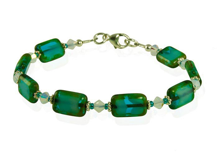 Opal Teal Green Czech Window Bracelet Set - SWCreations  - 2