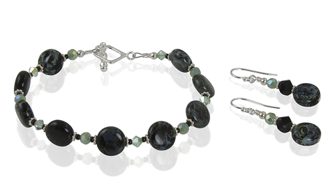 Cosmic Black Green Blue Glass Bracelet Set - SWCreations
