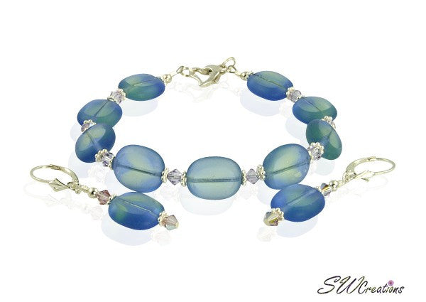Lavender Blue Window Glass Beaded Bracelet Set - SWCreations