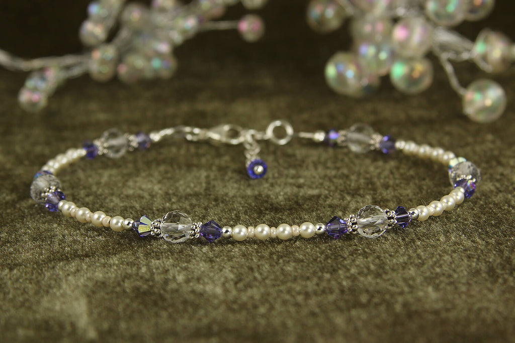 Tanzanite Crystal Cream Beaded Anklet