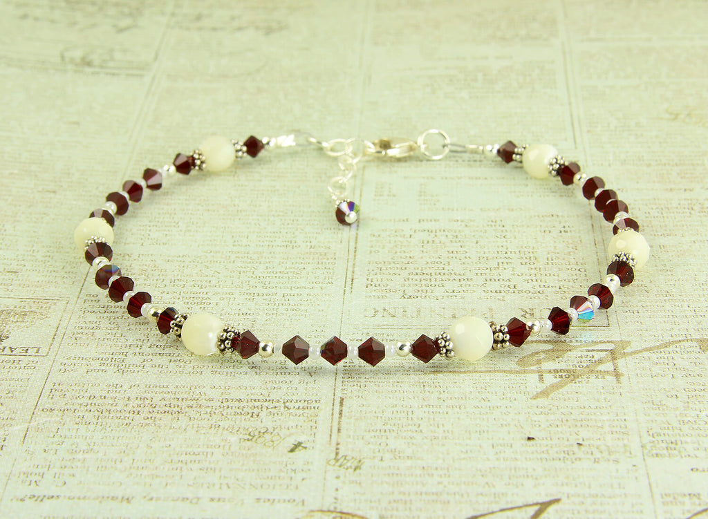 Mother of Pearl Crystal Beaded Anklet