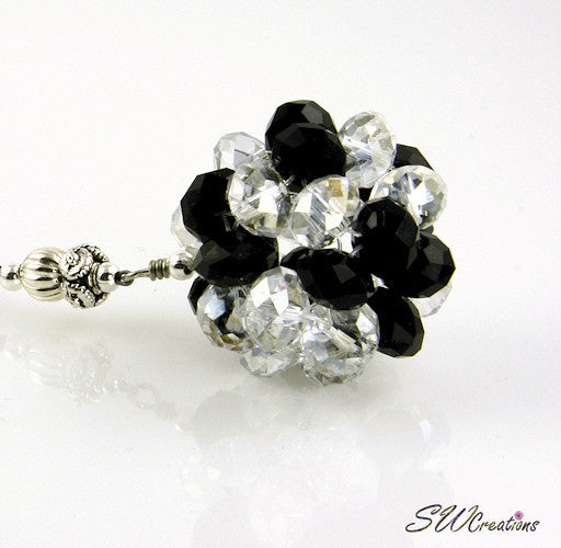 Cosmic Circle Crystal Jet Black Beaded Car Jewel - SWCreations