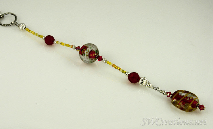 Red Goldenrod Crystal Lampwork Car Jewel - SWCreations