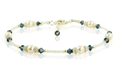 Classic - Something Blue Wedding Dark Sapphire Heart Anklet - SWCreations  - 1
