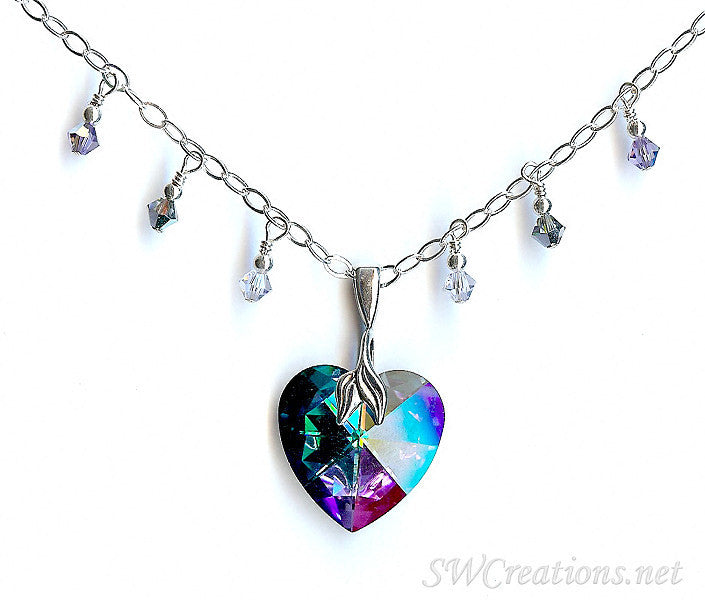 Peacock Heart Crystal Charm Pendant Necklace - SWCreations