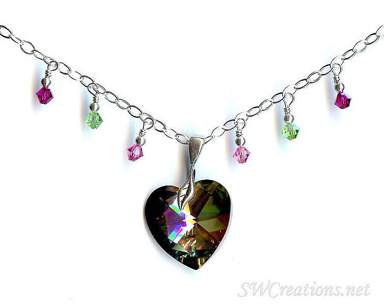 Sunset Heart Crystal Charm Pendant Necklace - SWCreations