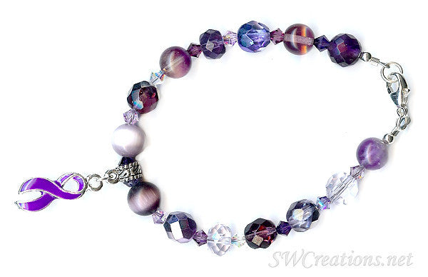 Domestic Abuse Crystal Charm Awareness Beaded Bracelets - SWCreations