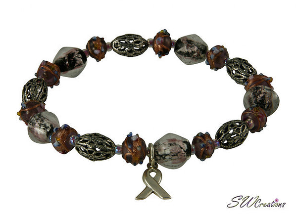 Domestic Abuse Shimmer Glass Awareness Beaded Bracelets - SWCreations