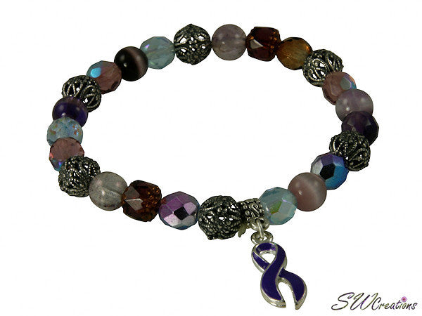 Purple Fancy Glass Mix Awareness Beaded Bracelets - SWCreations