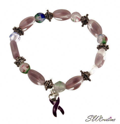 Lavender Frost Window Awareness Beaded Bracelets - SWCreations