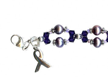 Domestic Abuse Purple Velvet Twist Awareness Beaded Bracelet - SWCreations  - 1