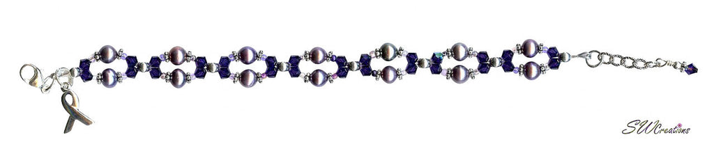 Domestic Abuse Purple Velvet Twist Awareness Beaded Bracelet - SWCreations  - 2
