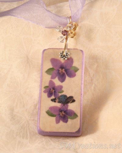 Violetto Purple Pansy Butterfly Domino Pendant - SWCreations  - 1