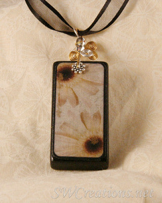 Magia Nero Daisy Black Domino Pendant - SWCreations  - 1