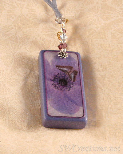 Fleur Lavender Dreams Butterfly Domino Pendant - SWCreations  - 1