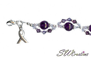 Domestic Abuse Crystal Twist Awareness Beaded Bracelets - SWCreations  - 1
