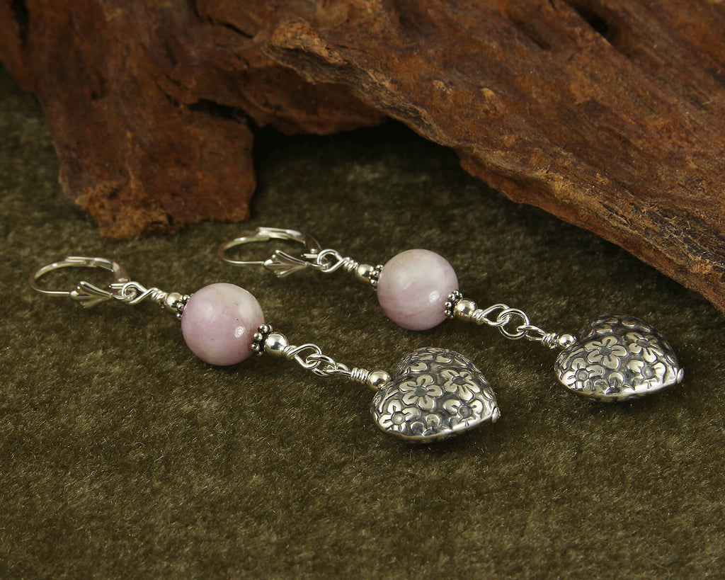 Kunzite Gemstone Heart Beaded Earrings