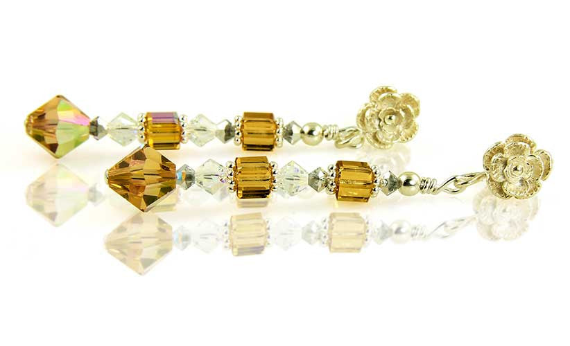 Topaz Crystal Cube Floral Earrings - SWCreations