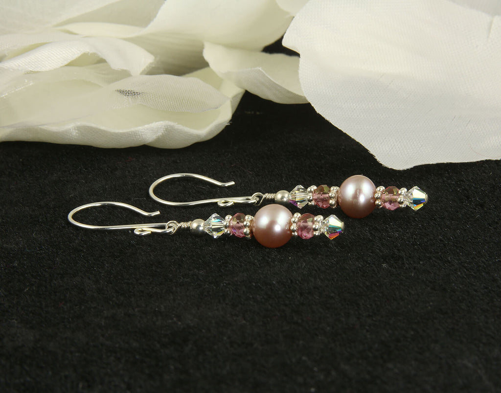 Luxury Mauve Pearl Pink Quartz Earrings