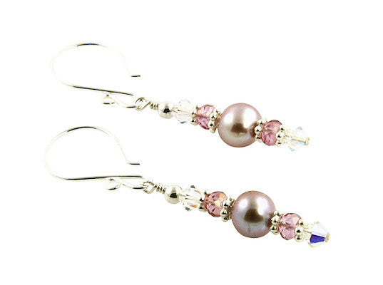 Luxury Mauve Pearl Pink Quartz Earrings - SWCreations