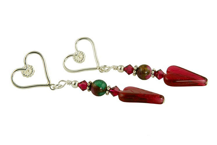 Ruby Crystal Heart Handmade Earrings - SWCreations