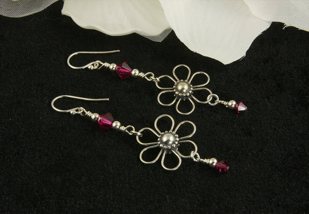 Enchanting Pink Floral Crystal Earrings