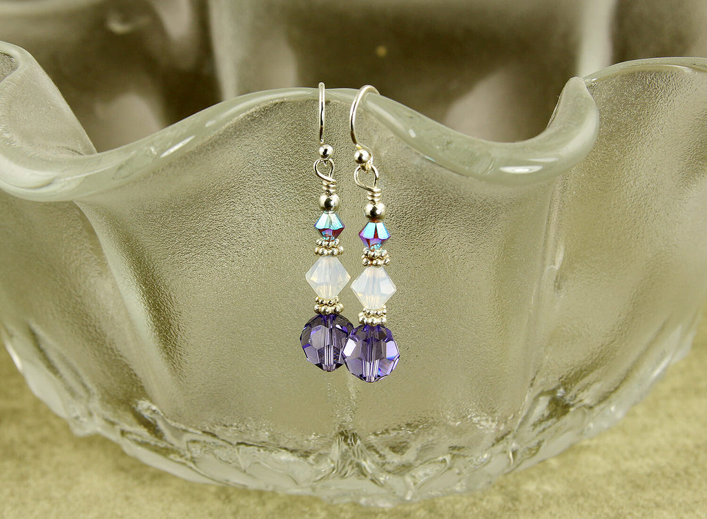 Opal Tanzanite Crystal Beaded Earrings