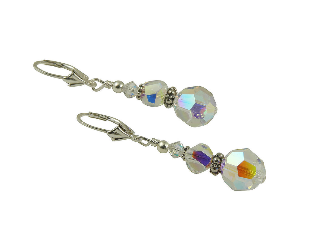 Shimmery Crystal Drop Beaded Earrings