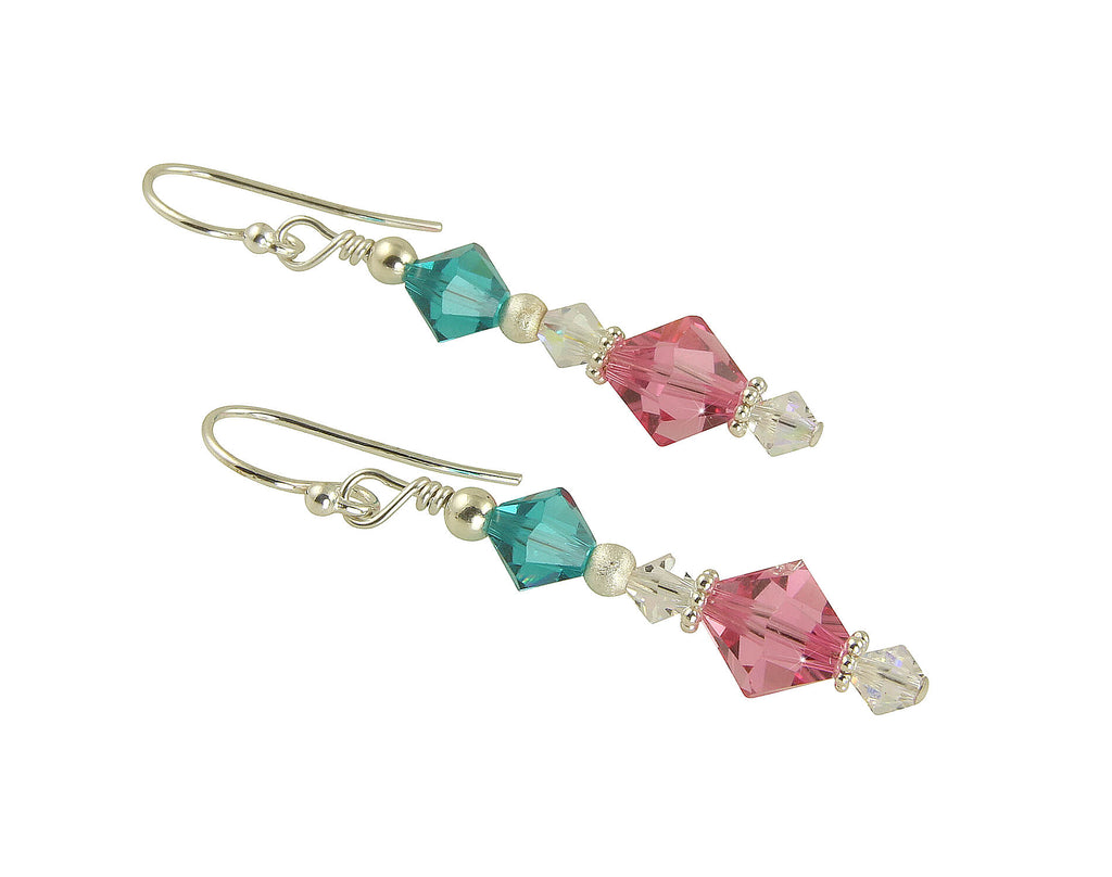 Teal Rose Pink Crystal Beaded Earrings