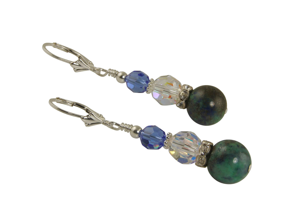 Azurite Sapphire Gemstone Beaded Earrings